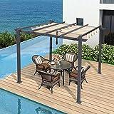 PURPLE LEAF Prgola de aluminio de 300 cm x 300 cm, con techo corredero, proteccin UV,...